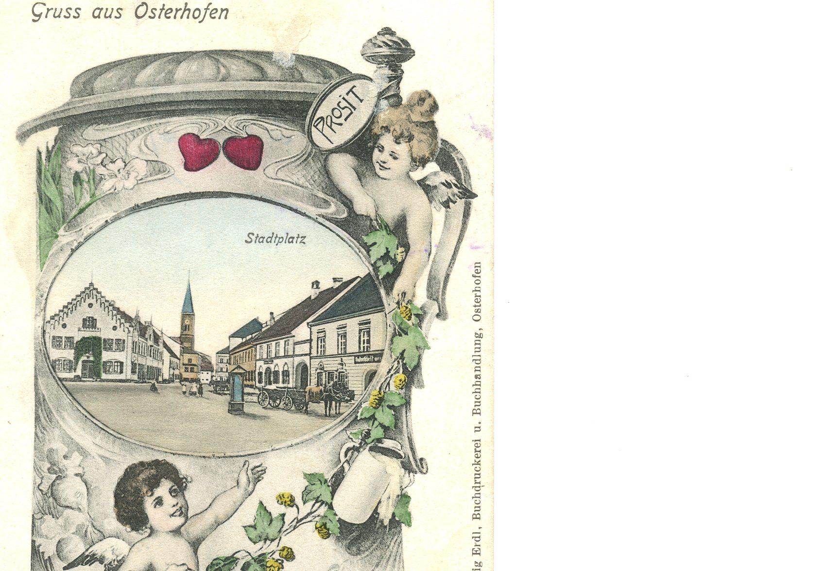 Postkarte von Stadtplatz ca. 1912